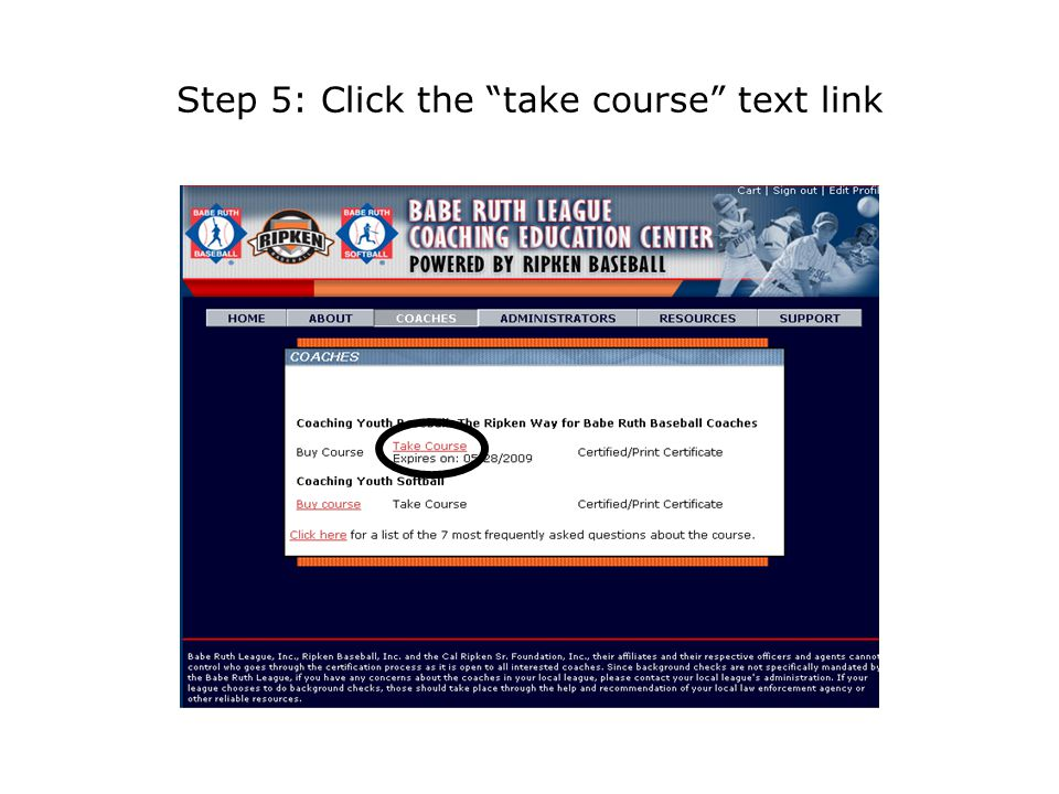 Step 5: Click the take course text link