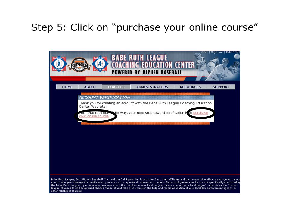 Step 5: Click on purchase your online course