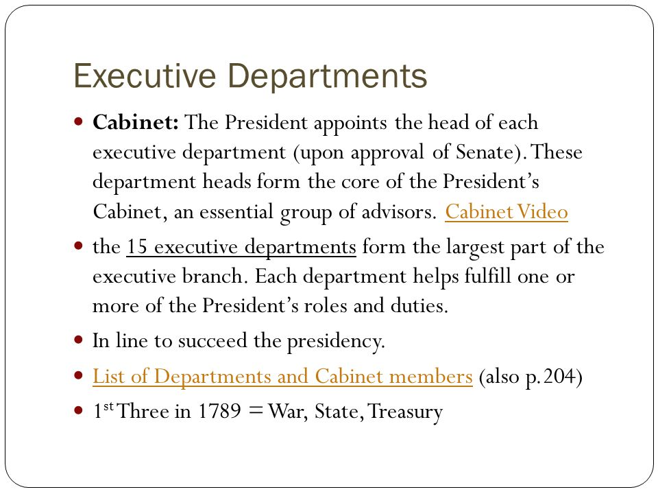 Powers/Limits of the President Roles of the President Executive ...