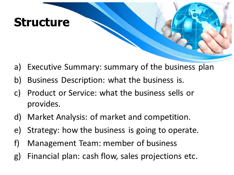 The structure of a business plan