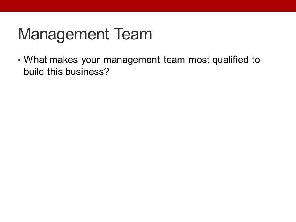 Business plan management team sample