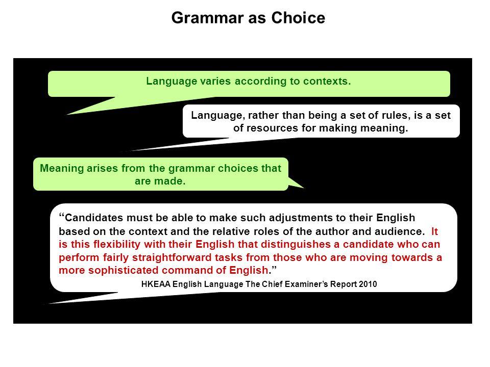 Grammar as Choice Language varies according to contexts.