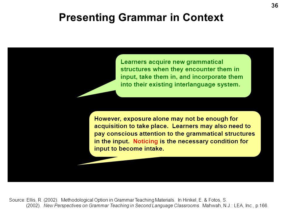 Presenting Grammar in Context Source: Ellis, R. (2002).