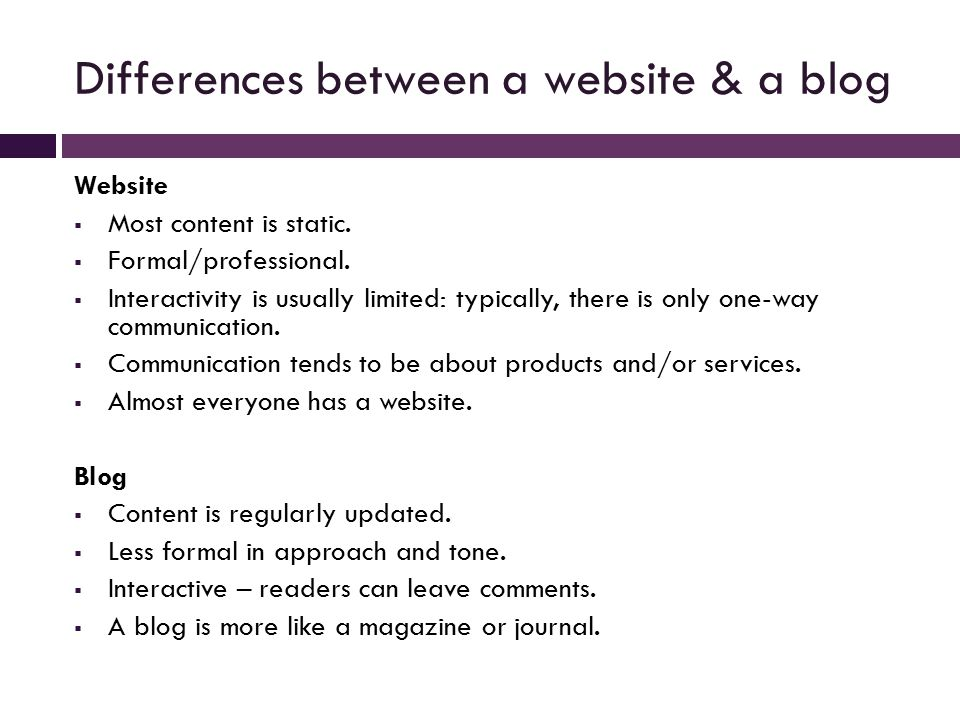 Differences between a website & a blog Website  Most content is static.