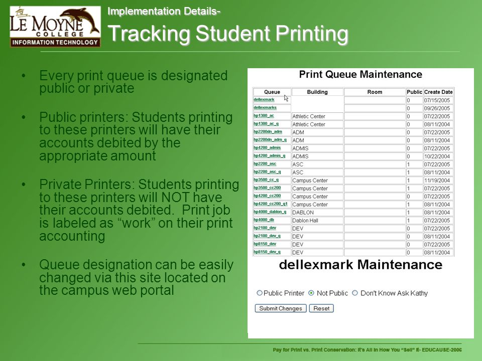 Implementation Details- Tracking Student Printing Every print queue is designated public or private Public printers: Students printing to these printers will have their accounts debited by the appropriate amount Private Printers: Students printing to these printers will NOT have their accounts debited.