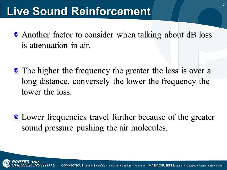 17 Live Sound Reinforcement Another factor to consider when talking about dB loss is attenuation in air.