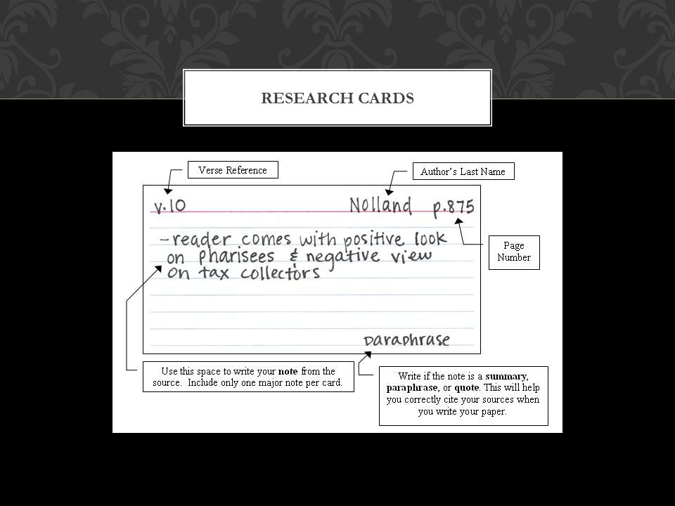 RESEARCH CARDS