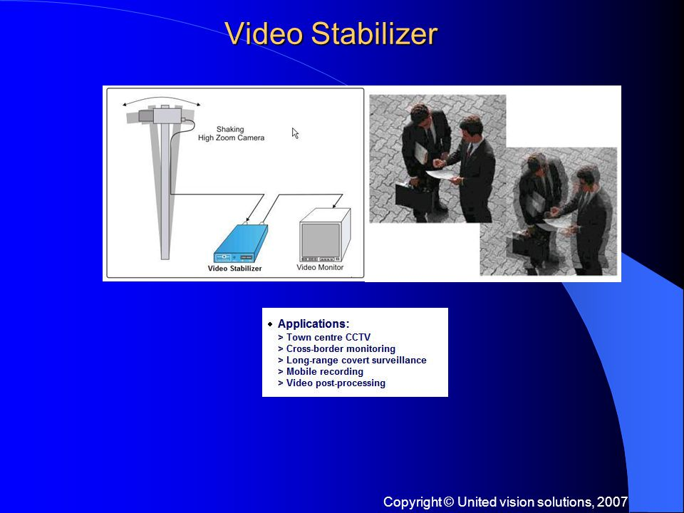 Copyright © United vision solutions, 2007 Video Stabilizer