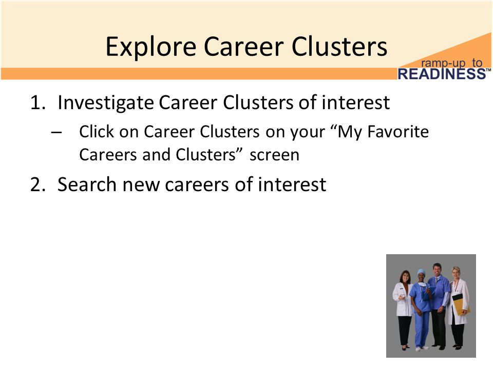 Explore Career Clusters 1.Investigate Career Clusters of interest – Click on Career Clusters on your My Favorite Careers and Clusters screen 2.Search new careers of interest