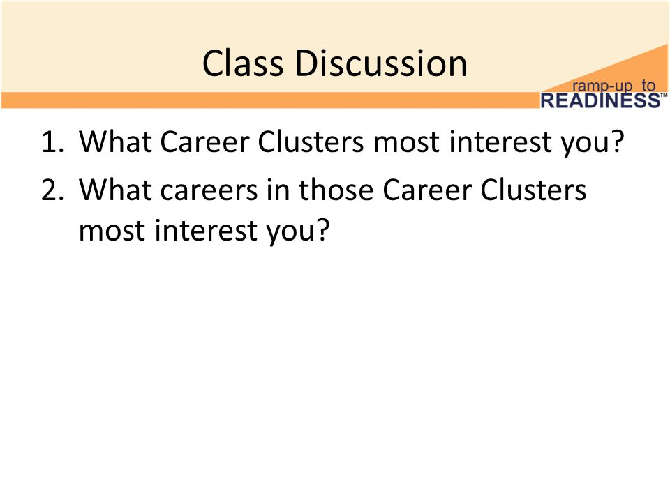 Class Discussion 1.What Career Clusters most interest you.