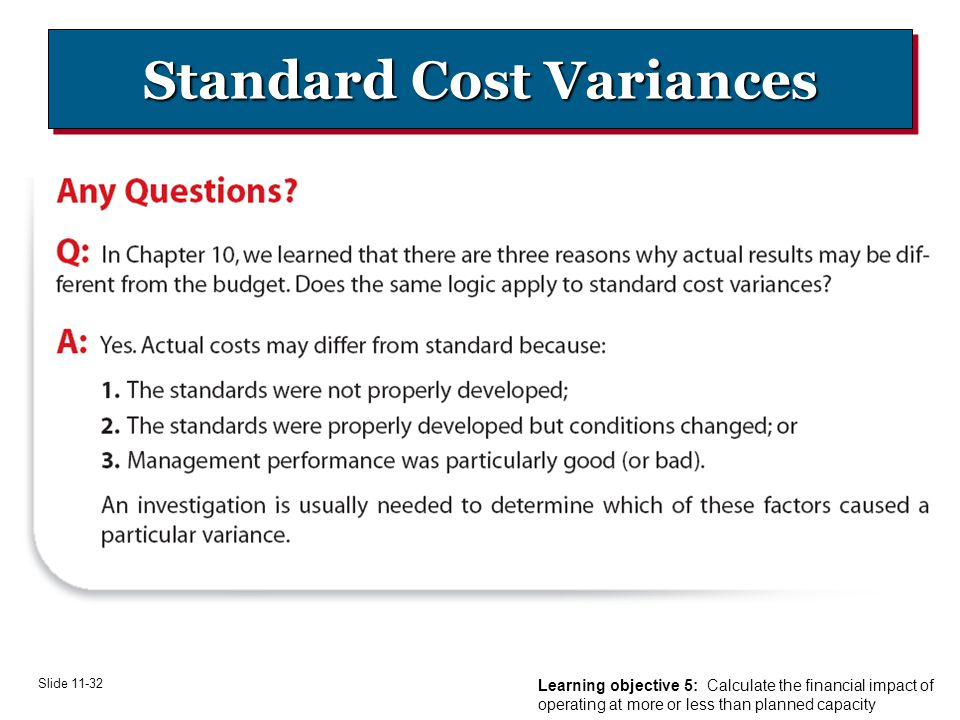 Slide Standard Cost Variances Learning objective 5: Calculate the financial impact of operating at more or less than planned capacity