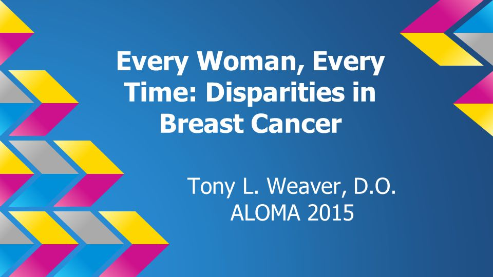Every Woman, Every Time: Disparities in Breast Cancer Tony L. Weaver, D.O. ALOMA 2015