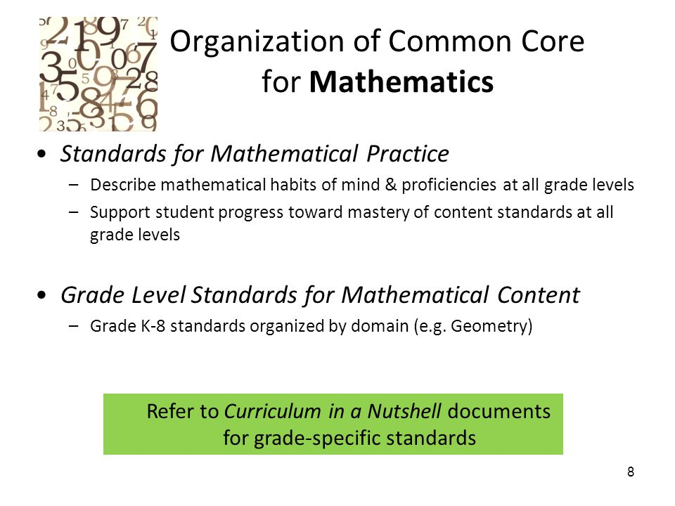 Organization of Common Core for Mathematics Standards for Mathematical Practice –Describe mathematical habits of mind & proficiencies at all grade levels –Support student progress toward mastery of content standards at all grade levels Grade Level Standards for Mathematical Content –Grade K-8 standards organized by domain (e.g.
