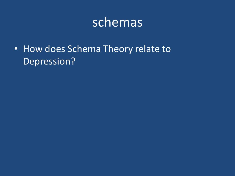 schemas How does Schema Theory relate to Depression