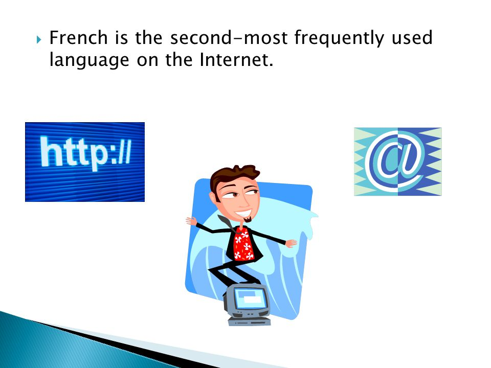  French is the second-most frequently used language on the Internet.