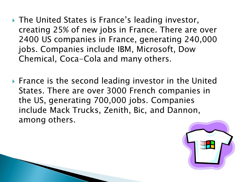  The United States is France's leading investor, creating 25% of new jobs in France.