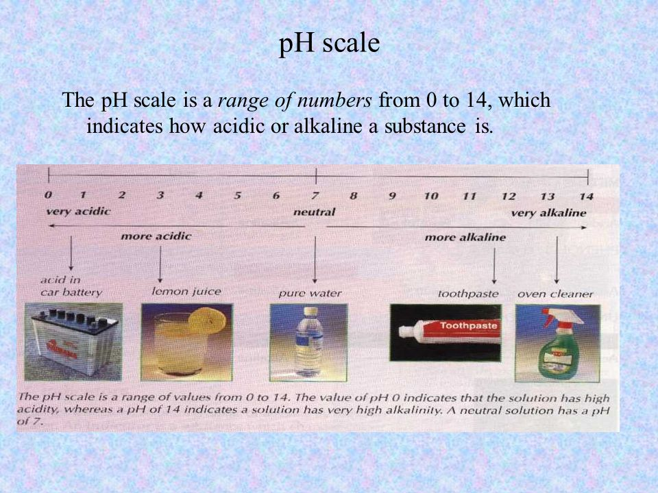 pH scale The pH scale is a range of numbers from 0 to 14, which indicates how acidic or alkaline a substance is.