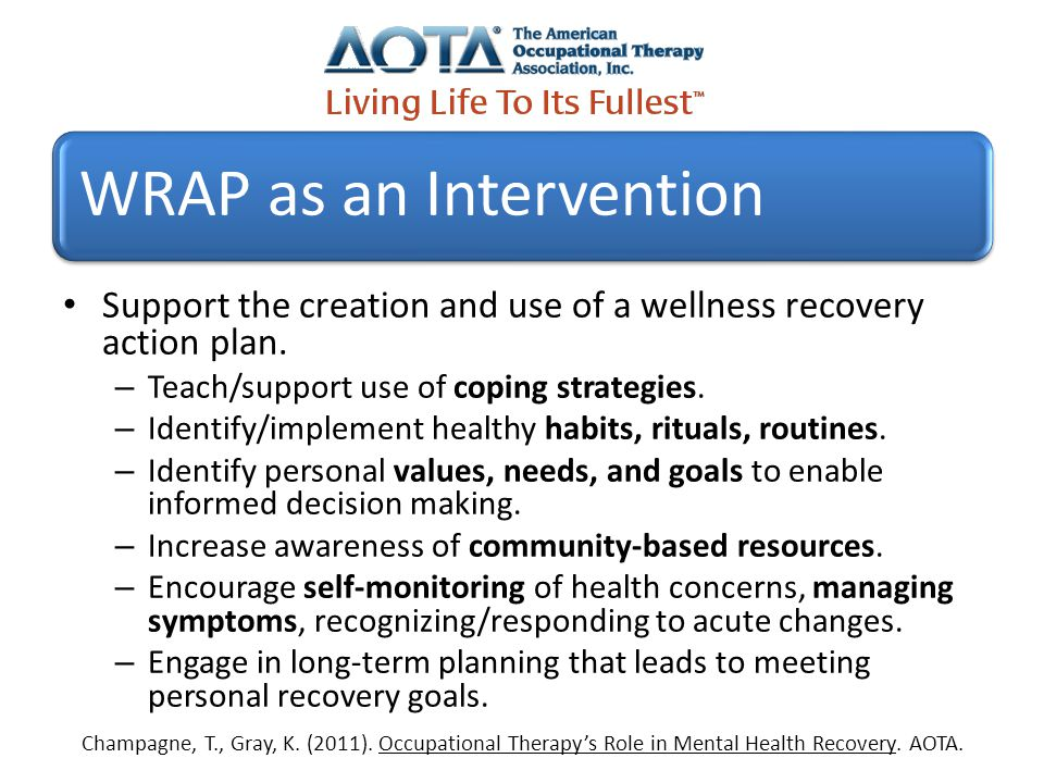 OT Mental Health Education Retooling for the Recovery Paradigm – Wellness Recovery Action Plan Worksheet
