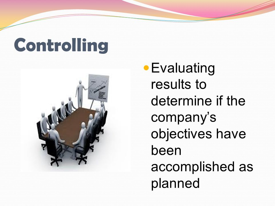 Controlling Evaluating results to determine if the company's objectives have been accomplished as planned