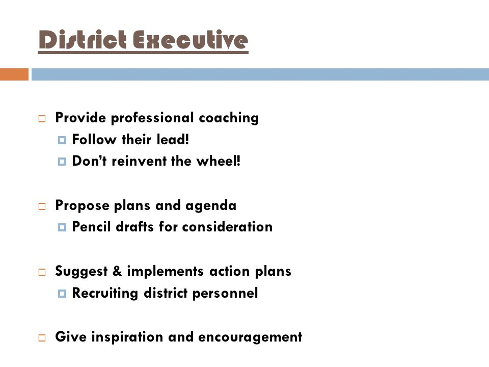 District Executive  Provide professional coaching  Follow their lead.