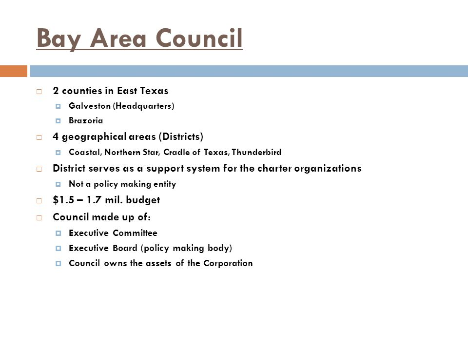 Bay Area Council  2 counties in East Texas  Galveston (Headquarters)  Brazoria  4 geographical areas (Districts)  Coastal, Northern Star, Cradle of Texas, Thunderbird  District serves as a support system for the charter organizations  Not a policy making entity  $1.5 – 1.7 mil.
