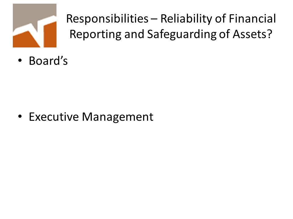 Responsibilities – Reliability of Financial Reporting and Safeguarding of Assets.