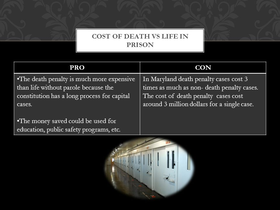 PROCON The death penalty is much more expensive than life without parole because the constitution has a long process for capital cases.