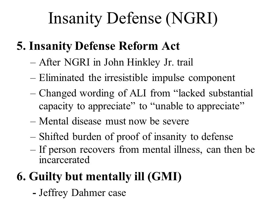 term paper on legal insanity defense Criminology term papers (paper 8052) on insanity as a defense : insanity as a defense the insanity defense is a defense that is used in the courts to say the defendant was not aware of what they were do.
