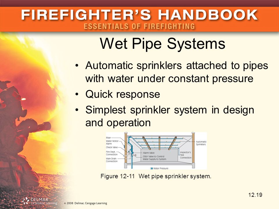 Wet Pipe Systems Automatic sprinklers attached to pipes with water under constant pressure Quick response Simplest sprinkler system in design and operation 12.19 Figure 12-11 Wet pipe sprinkler system.