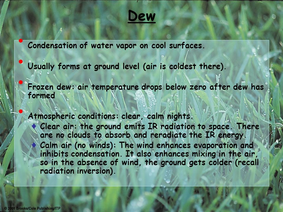 Dew, Frost and Fog. RECAP Hydrological cycle: transport of water ...