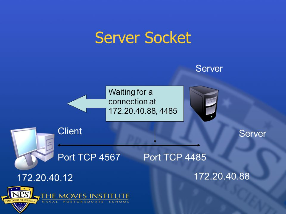 Server Socket Waiting for a connection at , 4485 Server Client Port TCP 4567Port TCP 4485