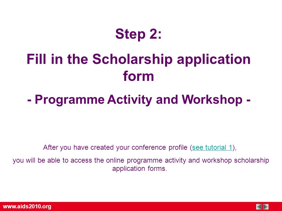 Step  Fill In The Scholarship Application Form  Programme