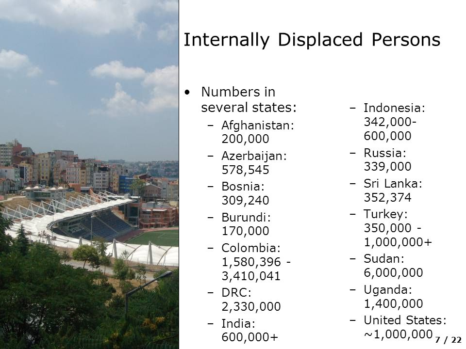 7 / 22 Internally Displaced Persons Numbers in several states: –Afghanistan: 200,000 –Azerbaijan: 578,545 –Bosnia: 309,240 –Burundi: 170,000 –Colombia: 1,580, ,410,041 –DRC: 2,330,000 –India: 600,000+ –Indonesia: 342, ,000 –Russia: 339,000 –Sri Lanka: 352,374 –Turkey: 350, ,000,000+ –Sudan: 6,000,000 –Uganda: 1,400,000 –United States: ~1,000,000