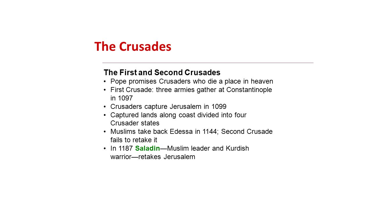 The Crusades The First and Second Crusades Pope promises Crusaders who die a place in heaven First Crusade: three armies gather at Constantinople in 1097 Crusaders capture Jerusalem in 1099 Captured lands along coast divided into four Crusader states Muslims take back Edessa in 1144; Second Crusade fails to retake it In 1187 Saladin—Muslim leader and Kurdish warrior—retakes Jerusalem