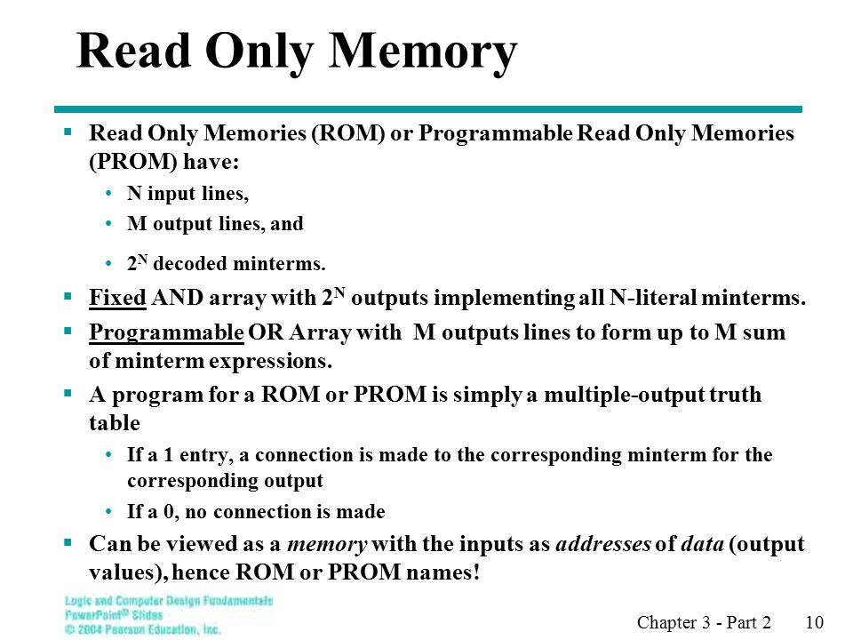 Chapter 3 - Part 2 10 Read Only Memory  Read Only Memories (ROM) or Programmable Read Only Memories (PROM) have: N input lines, M output lines, and 2 N decoded minterms.