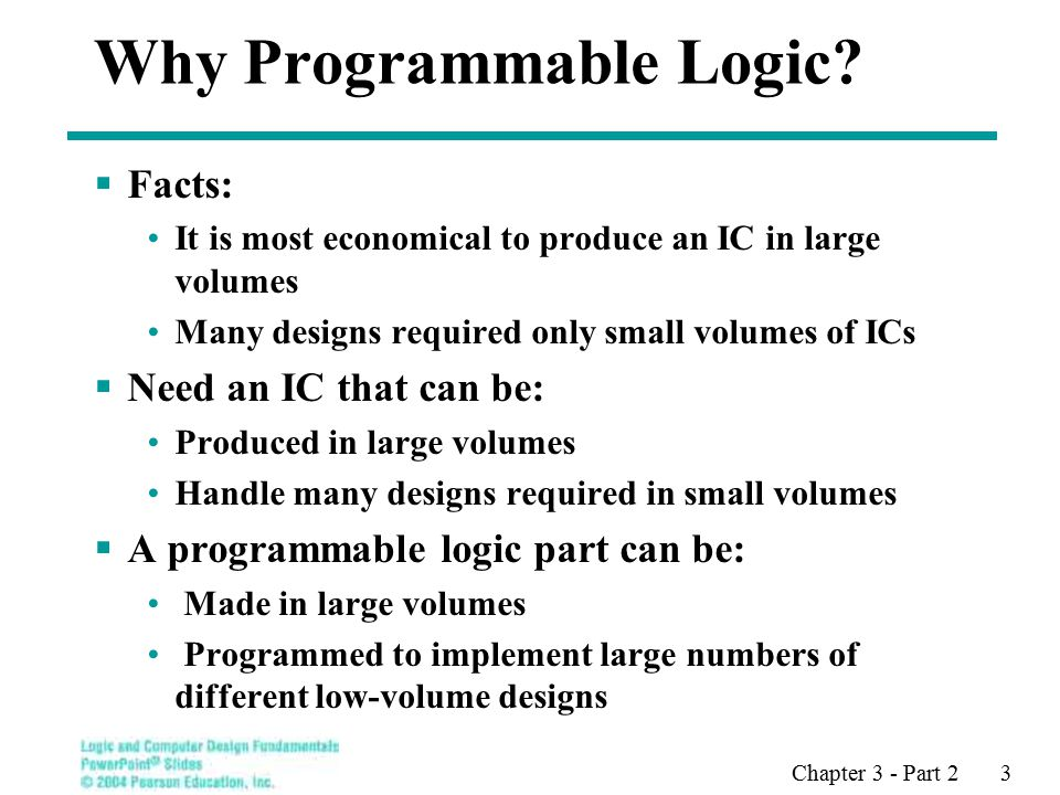 Chapter 3 - Part 2 3 Why Programmable Logic.