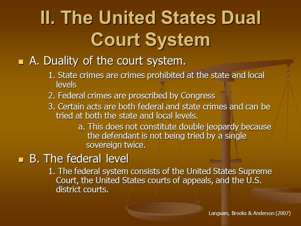 II. The United States Dual Court System A. Duality of the court system.