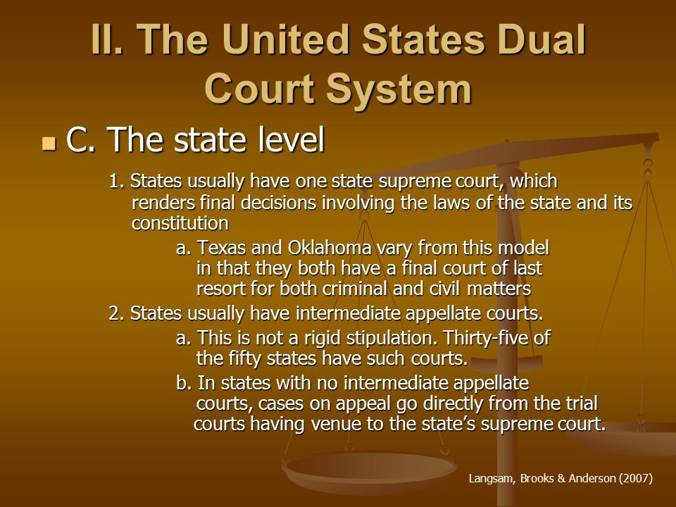 II. The United States Dual Court System C. The state level C.