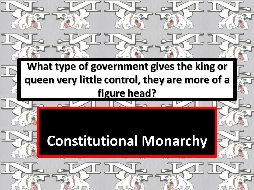 What type of government gives the king or queen very little control, they are more of a figure head.