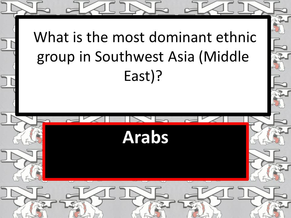 What is the most dominant ethnic group in Southwest Asia (Middle East) Arabs
