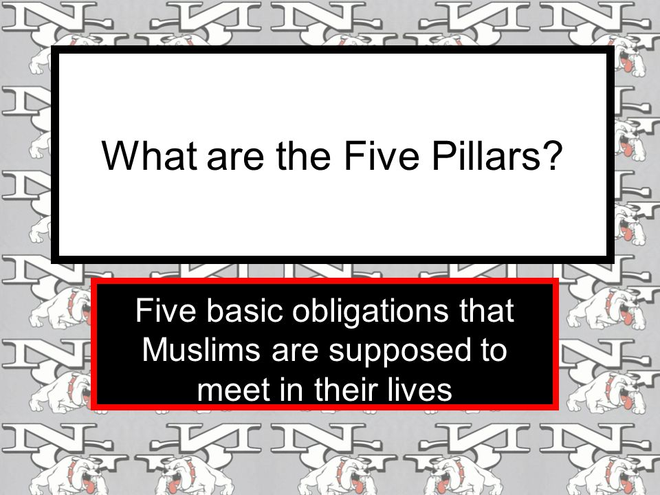What are the Five Pillars Five basic obligations that Muslims are supposed to meet in their lives