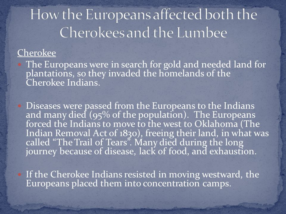 Cherokee The Europeans were in search for gold and needed land for plantations, so they invaded the homelands of the Cherokee Indians.