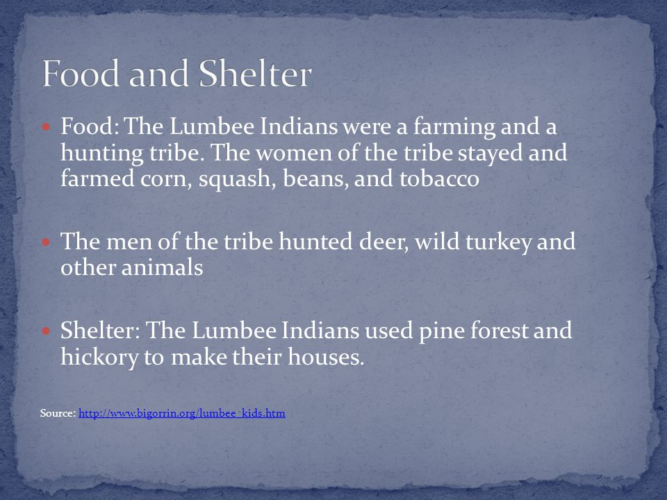 Food: The Lumbee Indians were a farming and a hunting tribe.