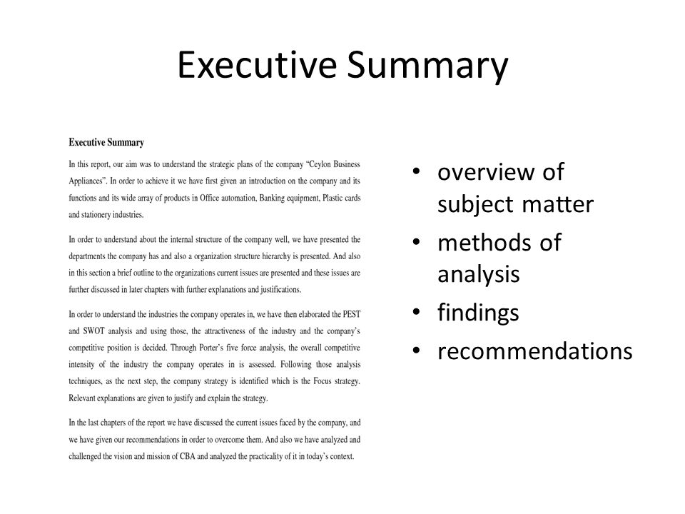 writing an executive summary for a thesis Executive summary samples depending on that you will need to follow the guideline for writing an executive summary that is given below.