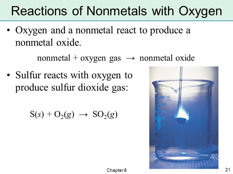Chapter 8 21 Oxygen and a nonmetal react to produce a nonmetal oxide.