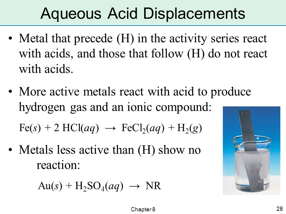 Chapter 8 28 Metal that precede (H) in the activity series react with acids, and those that follow (H) do not react with acids.