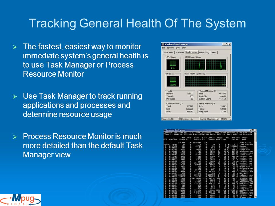 Tracking General Health Of The System   The fastest, easiest way to monitor immediate system's general health is to use Task Manager or Process Resource Monitor   Use Task Manager to track running applications and processes and determine resource usage   Process Resource Monitor is much more detailed than the default Task Manager view