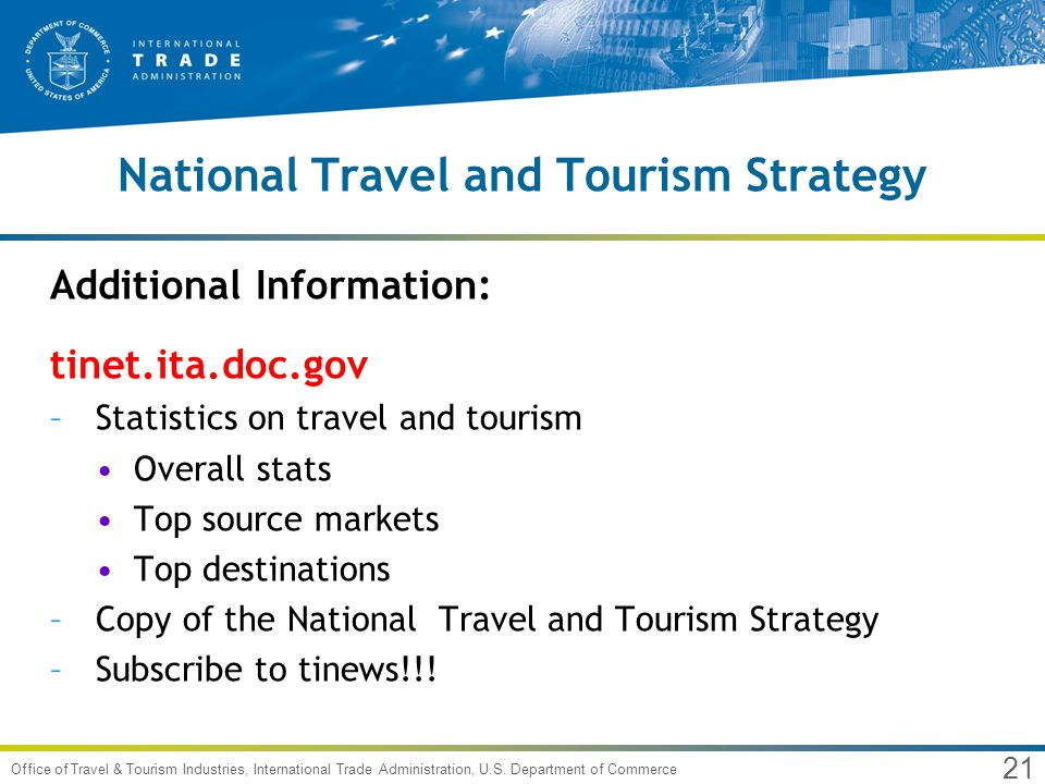 21 Office of Travel & Tourism Industries, International Trade Administration, U.S.