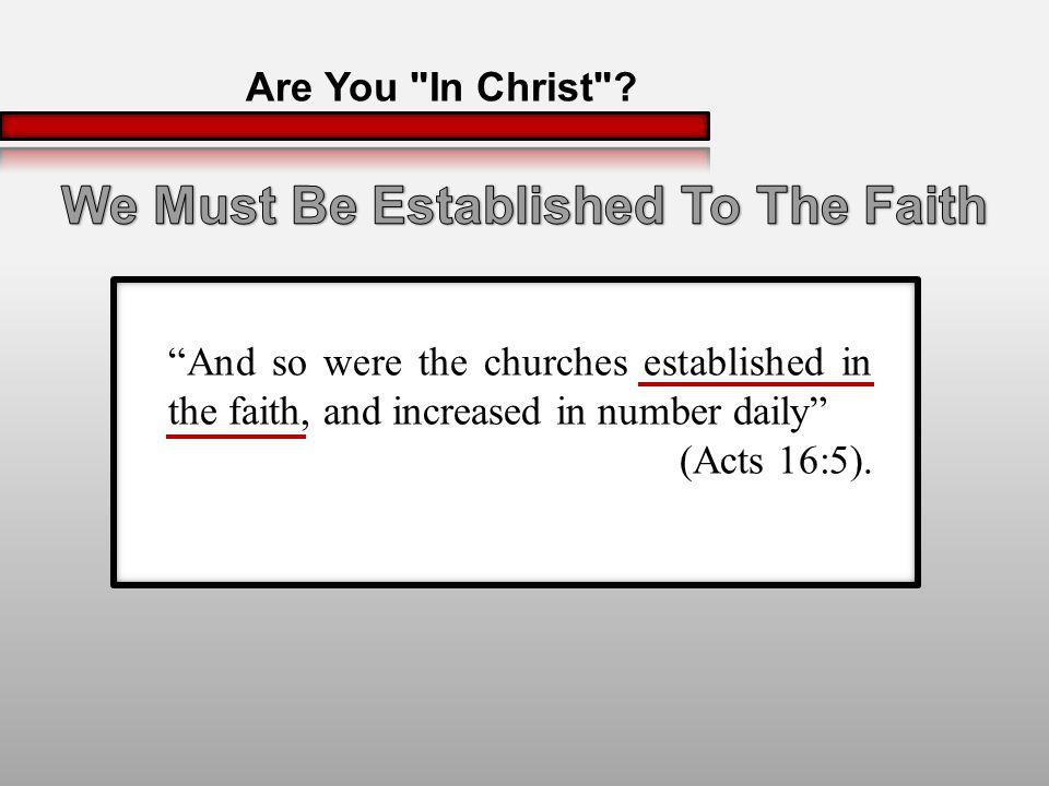 And so were the churches established in the faith, and increased in number daily (Acts 16:5).