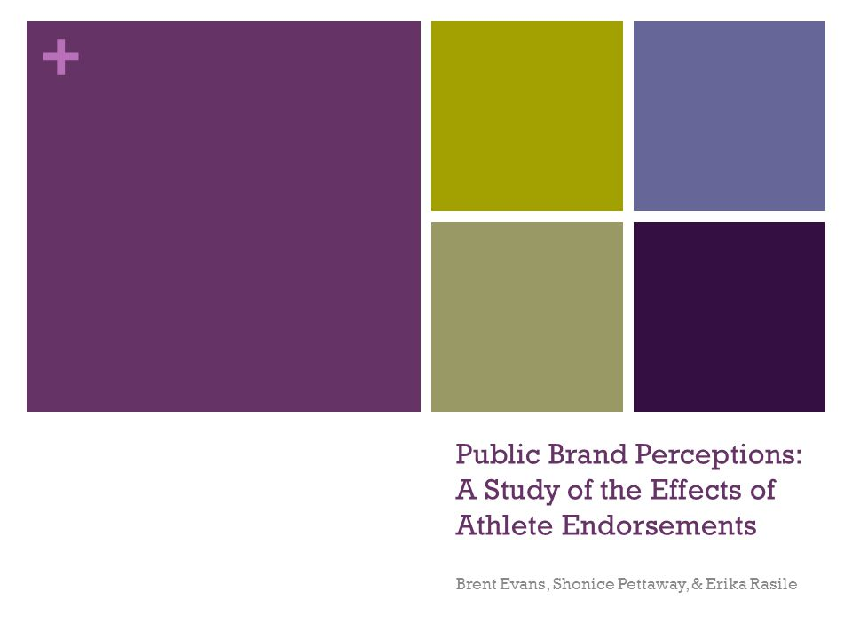 + Public Brand Perceptions: A Study of the Effects of Athlete Endorsements Brent Evans, Shonice Pettaway, & Erika Rasile